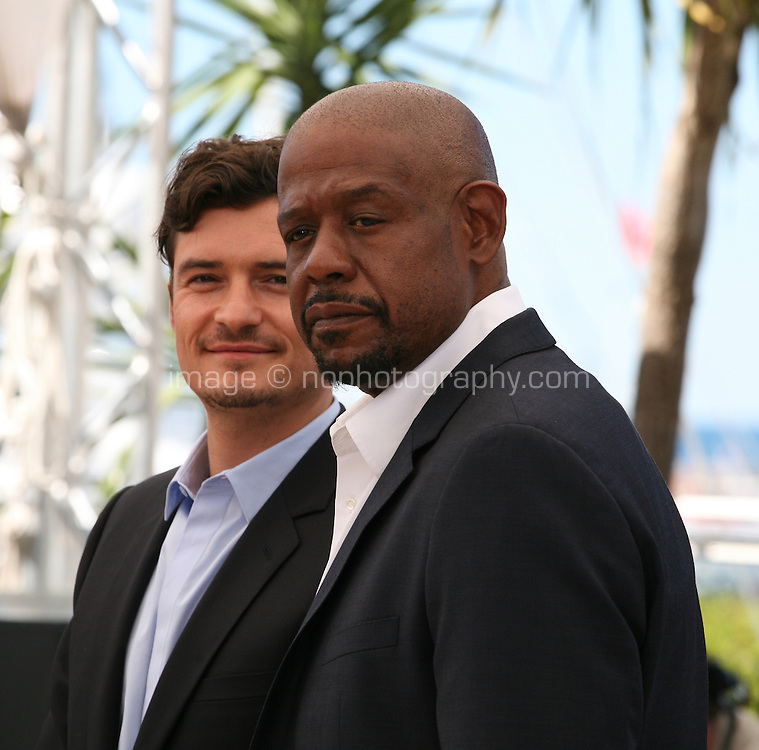 Actors Orlando Bloom and Forest Whitaker at the Zulu film photocall Cannes Film Festival Sunday 27th May 2013