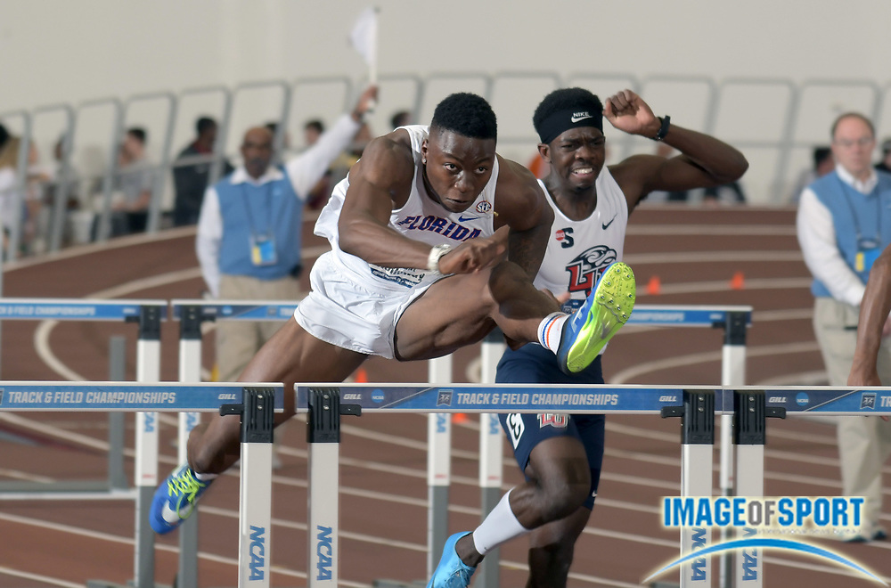 Mar 10, 2018; College Station, TX, USA; Grant Holloway of Florida wins the 60m hurdles in 7.47 during the NCAA Indoor Track and Field Championships at the McFerrin Athletic Center.