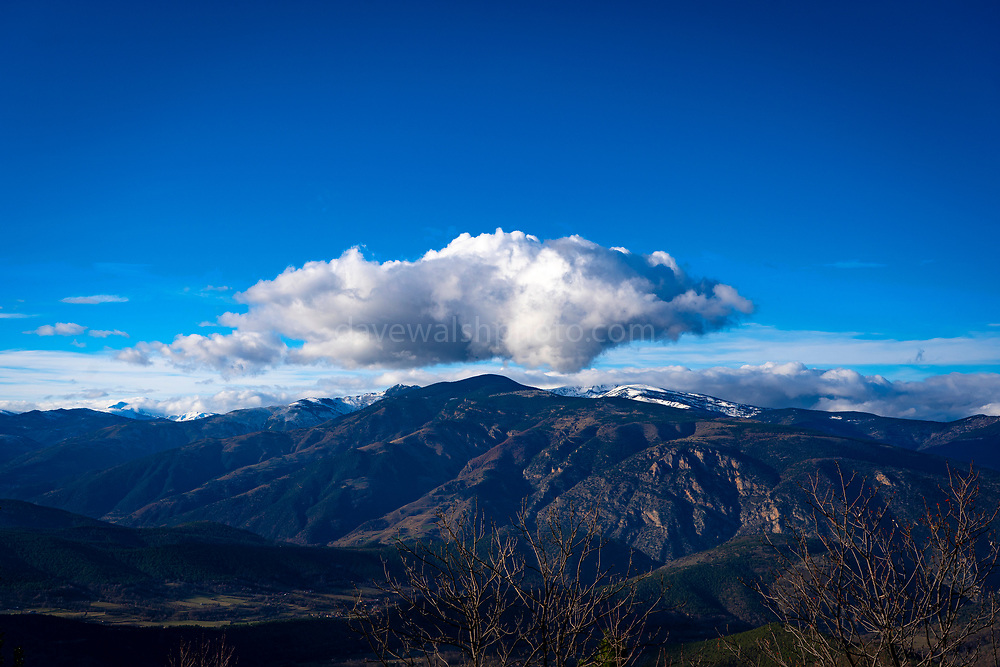 Lone cloud seen over the Conflet, from the Canigou, Pyrenees Orientales, France
