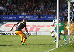 Charlie Wyke of Bradford City (L) scores his sides second goal - Mandatory by-line: Jack Phillips/JMP - 08/04/2017 - FOOTBALL - Gigg Lane - Bury, England - Bury v Bradford City - Football League 1