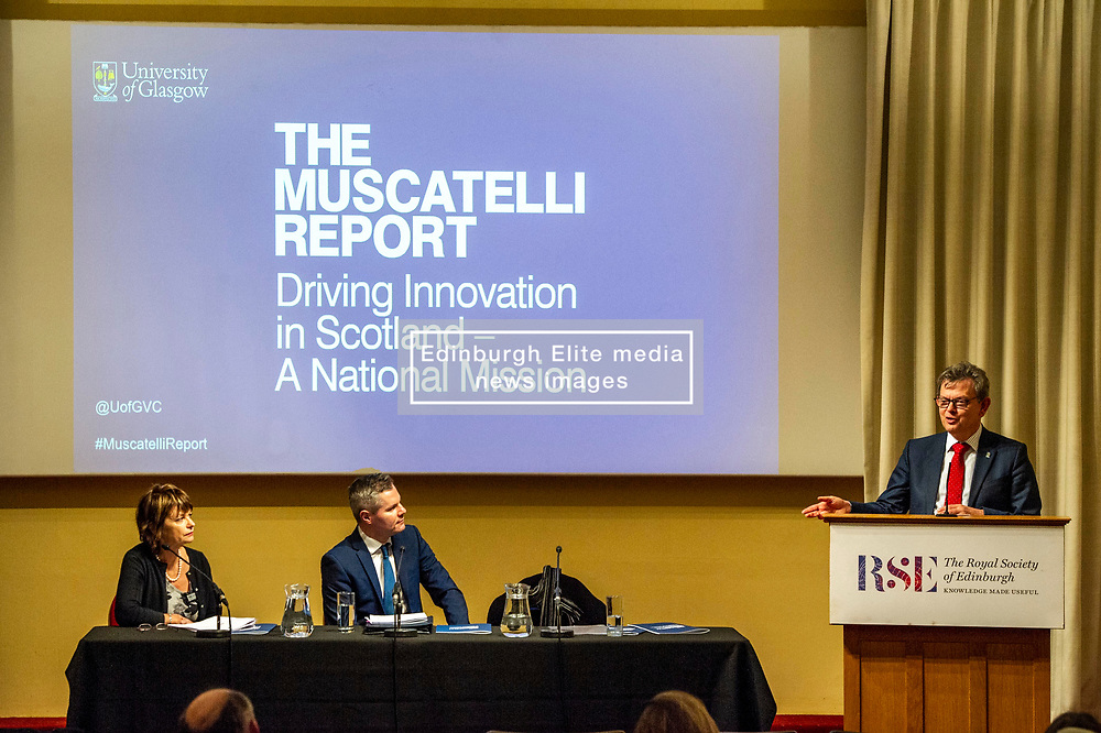 Pictured: Dame Anne Glover, President Royal Society of Edinburgh, Finance Secretary Derek Mackay  and Professor Sir Anton Muscatelli<br /><br /><br />Professor Sir Anton Muscatelli was joined by Finance Secretary Derek Mackay as he launched his report on how Scotland's higher education sector can maximise its impact on economic growth. Commissioned by Mr Mackay, the report will make recommendations for the sector, industry, the Scottish Government and its agencies<br /><br /> Ger Harley | EEm 27 November 2019