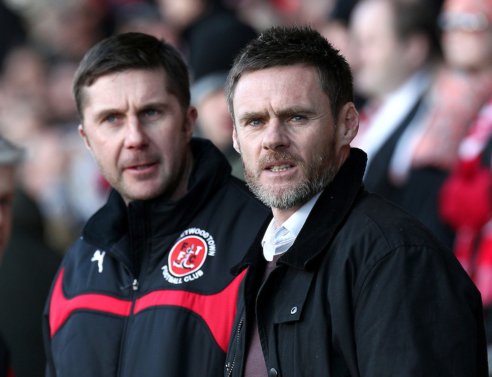Fleetwood Town manager Graham Alexander (right) and   Assistant Manager Chris Lucketti on the touchline<br /> <br /> Photographer Rich Linley/CameraSport<br /> <br /> Football - The Football League Sky Bet League One - Fleetwood Town v Oldham Athletic - Saturday 17th January 2015 - Highbury Stadium - Fleetwood<br /> <br /> © CameraSport - 43 Linden Ave. Countesthorpe. Leicester. England. LE8 5PG - Tel: +44 (0) 116 277 4147 - admin@camerasport.com - www.camerasport.com