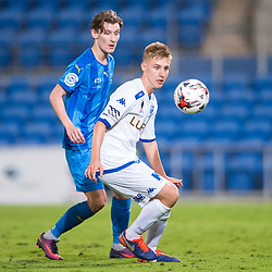 BRISBANE, AUSTRALIA - SEPTEMBER 20: Jesse Daley of South Melbourne and Matthew Schmidt of Gold Coast City compete for the ball during the Westfield FFA Cup Quarter Final match between Gold Coast City and South Melbourne on September 20, 2017 in Brisbane, Australia. (Photo by Gold Coast City FC / Patrick Kearney)