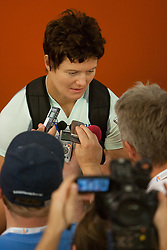 Martina Ratej of Slovenia with journalists after she qualified for finals in the Womens Javelin Qualifying during day one of the 20th European Athletics Championships at the Olympic Stadium on July 27, 2010 in Barcelona, Spain. (Photo by Vid Ponikvar / Sportida)