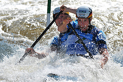 June 2, 2018 - Prague, Czech Republic - Robert Behling and Thomas Becker of Germany in action during the Men's C2 finals at the European Canoe Slalom Championships 2018 at Troja water canal in Prague, Czech Republic, 02 June 2018. (Credit Image: © Slavek Ruta via ZUMA Wire)