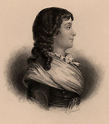 Marie Jeanne Philipon Roland, French Revolutionary,  wife of Jean Mari Roland de la Platiere. Guillotined 8 November 1793. Engraving.