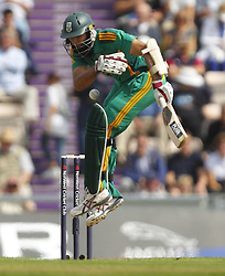 South Africa's Hashim Amla receives an early ball from England's Steven Finn during the second One Day International match at the Ageas Bowl, Southampton