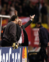 Fotball<br /> Champions League 2004/05<br /> Monaco v Liverpool<br /> 23. november 2004<br /> Foto: Digitalsport<br /> NORWAY ONLY<br /> Liverpool manager Rafael Benitez reacts in disbelief as the referee allows Monaco's goal to stand, as Jerzy Dudek looks on.