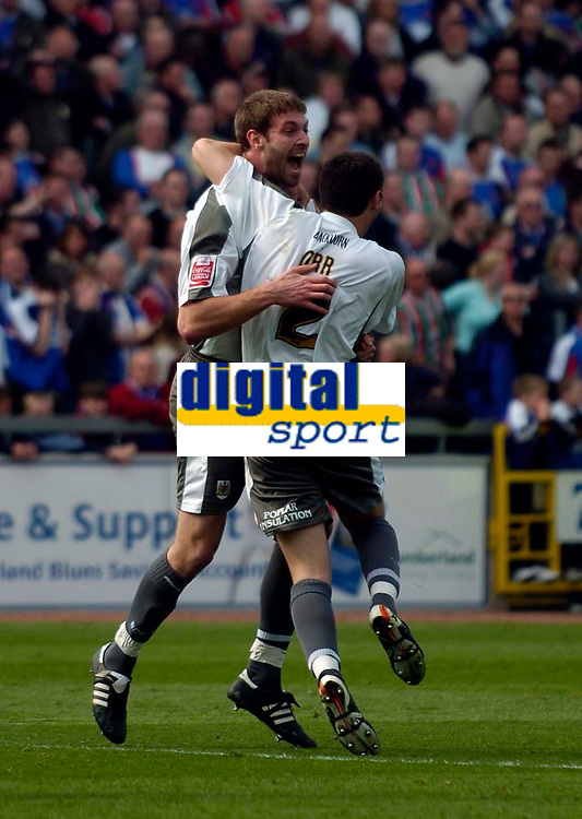 Photo: Jed Wee/Sportsbeat Images.<br /> Carlisle United v Bristol City. Coca Cola League 1. 21/04/2007.<br /> <br /> Bristol City's Jamie McCombe (L) celebrates after his equalising goal.