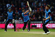 Luke Wright of Sussex hits a six in to the stands during the final of the Vitality T20 Finals Day 2018 match between Worcestershire Rapids and Sussex Sharks at Edgbaston, Birmingham, United Kingdom on 15 September 2018.