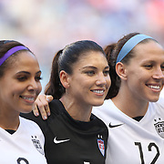 U.S. Women's National Team goalkeeper Hope Solo, (center), with team mates Sydney Leroux, (left) and Lauren Holiday before the U.S. Women's National Team Vs Korean Republic, International Soccer Friendly in preparation for the FIFA Women's World Cup Canada 2015. Red Bull Arena, Harrison, New Jersey. USA. 30th May 2015. Photo Tim Clayton