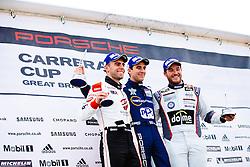 Dino Zamparelli celebrates a 3rd place finish in the 1st race of the day | Bristol Sport Racing | #88 Porsche 911 GT3 Cup Car | Porsche Carrera Cup GB | Race 1 - Mandatory byline: Rogan Thomson/JMP - 07966 386802 - 11/10/2015 - MOTORSPORT - Brands Hatch GP Circuit - Fawkham, England - BTCC Meeting Day 2.