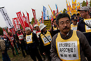 Activists at an Anti APEC (Asia Pacific Economic Conference)  Demo by left-wing activist groups and trade unions in Yokohama, Japan Sunday, November 14th 2010