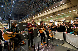 """© Licensed to London News Pictures. 22/03/2012. London, UK. St Pancras International's music festival  """"Station Sessions"""" launches with The Futureheads headlining the opening night.  It will run for 6 weeks over 4 stages and featuring 100 performances.  Photo credit : Richard Isaac/LNP"""