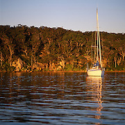 Yacht at Anchor Lake Macquarie, Australia
