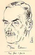 Thomas Mann  (1875-1955) German novelist and brother of Heinrich Mann. Nobel prize for Literature 1929. Sketch dated 1934.