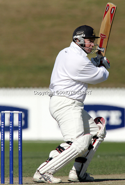 Wellington batsman Michael Parlane during round six of the State Championship cricket match between the Northern Knights and Wellington Firebirds at Westpac Trust Park, Hamilton, on Monday 13 March, 2006. Photo: Stephen Barker/PHOTOSPORT
