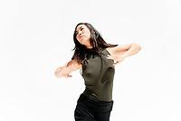 Pushing away energy dance movement woman.