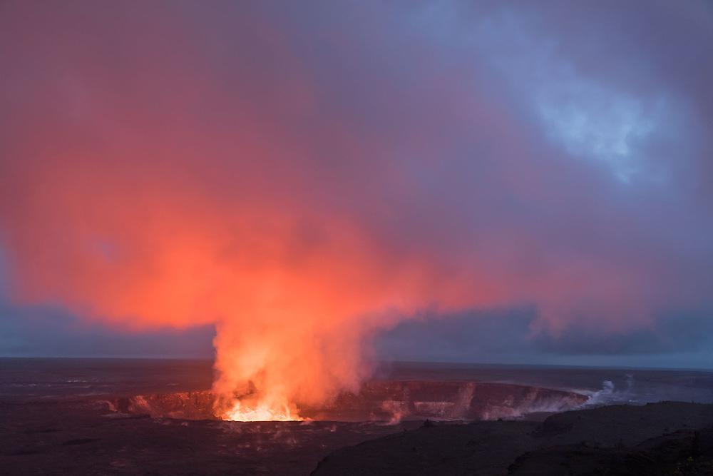CRATER GLOW FROM LAVA LAKE WITHIN HALEMA'UMA'U CRATER, HAWAII VOLCANOES NATIONAL PARK, HAWAII