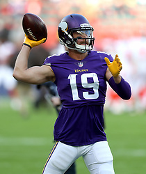 Minnesota Vikings' wide receiver Adam Thielen throws the ball during warm-up before during the International Series NFL match at Twickenham, London. PRESS ASSOCIATION Photo. Picture date: Sunday October 29, 2017. See PA story GRIDIRON London. Photo credit should read: Simon Cooper/PA Wire. RESTRICTIONS: News and Editorial use only. Commercial/Non-Editorial use requires prior written permission from the NFL. Digital use subject to reasonable number restriction and no video simulation of game.