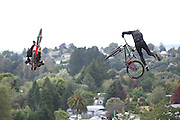 Martin Soderstom, Sweden on the right racing in the finals of the Mons Royal Dual Speed and Style event against Adrien Loron, France, Crankworx Rotorua 26.03.2015