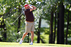 Kirby Smart tees off during the Chick-fil-A Peach Bowl Challenge at the Oconee Golf Course at Reynolds Plantation, Sunday, May 1, 2018, in Greensboro, Georgia. (Dale Zanine via Abell Images for Chick-fil-A Peach Bowl Challenge)