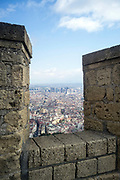 A view of the city of Naples, Italy from the battlements of the Castel Nuovo, Naples, Italy. First erected in 1279, it is one of the main architectural landmarks of the city.