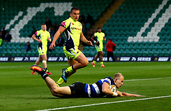 Will Homer of Bath Rugby scores a try - Mandatory by-line: Robbie Stephenson/JMP - 28/07/2017 - RUGBY - Franklin's Gardens - Northampton, England - Sale Sharks v Bath Rugby - Singha Premiership Rugby 7s