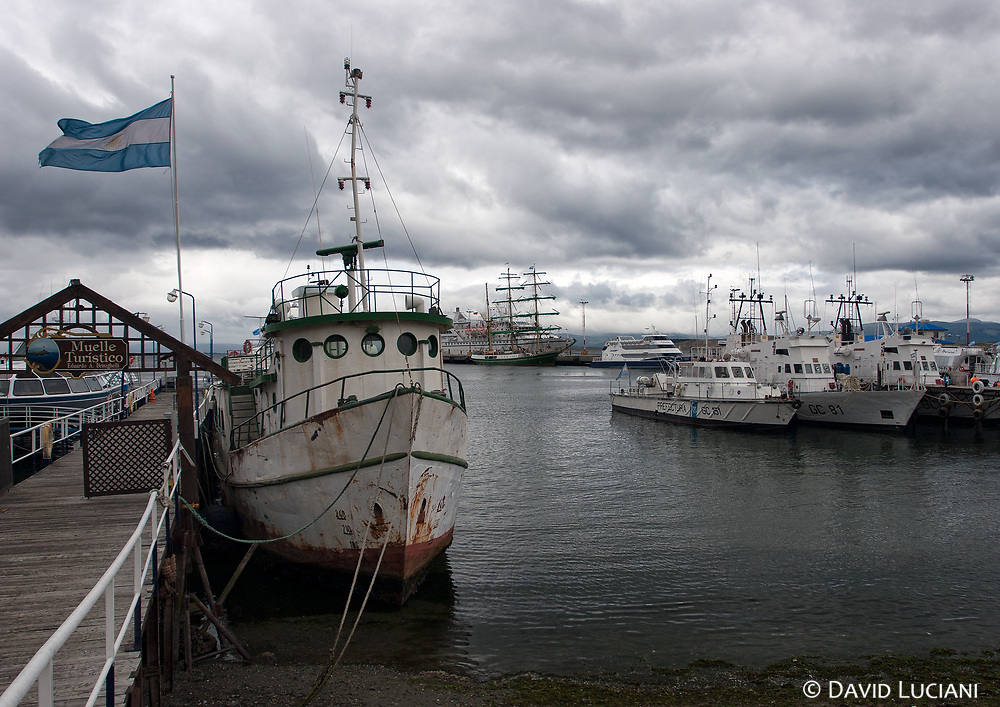 """Ushuaia, the capital of the argentinian archipelago """"Tiera del Fuego"""" is also well-known as the southernmost city in the World. The photo shows the Harbour of Ushuaia."""