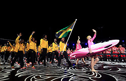 Jamaica's flag bearer Alia Atkinson leads out her team during the Opening Ceremony for the 2018 Commonwealth Games at the Carrara Stadium in the Gold Coast, Australia.