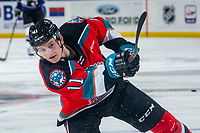 KELOWNA, BC - MARCH 11: Pavel Novak #11 of the Kelowna Rockets warms up with a shot on net against the Victoria Royals at Prospera Place on March 11, 2020 in Kelowna, Canada. (Photo by Marissa Baecker/Shoot the Breeze)