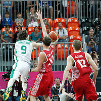 02 August 2012: Brazil Marcelinho Huertas goes for the layup during 75-74 Team Russia victory over Team Brazil, during the men's basketball preliminary, at the Basketball Arena, in London, Great Britain.