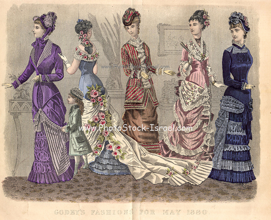 Colour drawing of Godey's women's Fashion for May 1880 from Godey's Lady's Book and Magazine, 1880 Philadelphia, Louis A. Godey, Sarah Josepha Hale,