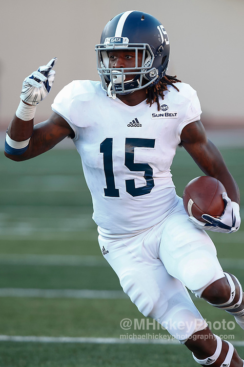 BLOOMINGTON, IN - SEPTEMBER 23: Monteo Garrett #15 of the Georgia Southern Eagles runs the ball during the game against the Indiana Hoosiers at Memorial Stadium on September 23, 2017 in Bloomington, Indiana. (Photo by Michael Hickey/Getty Images) *** Local Caption *** Monteo Garrett