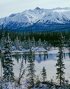 Early winter freeze-up of small lake below the Kluane Ranges near Edith Creek, Yukon territory, Canada.