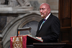 American theoretical physicist and Nobel laureate Kip Thorne speaking at the memorial service for Professor Stephen Hawking, at Westminster Abbey, London.