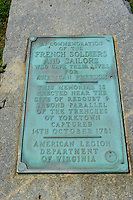 Memorial plaque to Fallen French soldiers and sailors, Yorktown National Battlefield, Yorktown, Virginia.