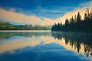 Pyramid Lake at sunrise, Jasper National Park, Alberta, Canada