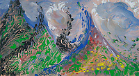 abstract mountain peaks multicolored image with flowers and clouds