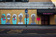 Boarded up East London night club on Curtain Road painted with mural to support NHS workers  during the coronavirus pandemic on the 24th April 2020 in London, United Kingdom.