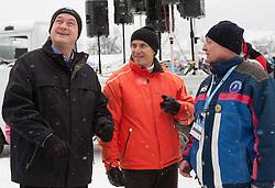 Danilo Tuerk, president of Republic of Slovenia, Joze Mermal of BTC and Franjo Naralocnik, Mayor of Ljubno during Normal Hill Individual Competition at FIS World Cup Ski jumping Ladies Ljubno 2012, on February 12, 2012 in Ljubno ob Savinji, Slovenia. (Photo By Vid Ponikvar / Sportida.com)