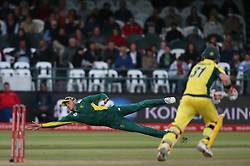 David Miller of South Africa dives while attempting to stop the ball during the 5th ODI match between South Africa and Australia held at Newlands Stadium in Cape Town, South Africa on the 12th October  2016<br /> <br /> Photo by: Shaun Roy/ RealTime Images
