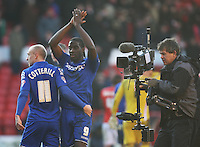 Birmingham City's Clayton Donaldson (C) and David Cotterill celebrate at the final whistle<br /> <br /> Photographer Jack Phillips/CameraSport<br /> <br /> Football - The Football League Sky Bet Championship - Nottingham Forest v Birmingham City - Saturday 28th December - The City Ground - Nottingham<br /> <br /> © CameraSport - 43 Linden Ave. Countesthorpe. Leicester. England. LE8 5PG - Tel: +44 (0) 116 277 4147 - admin@camerasport.com - www.camerasport.com
