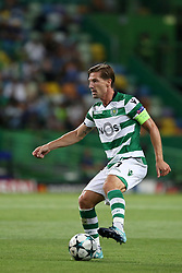 August 15, 2017 - Lisbon, Portugal - Sporting's midfielder Adrien Silva from Portugal in action during the UEFA Champions League play-offs first leg football match between Sporting CP and FC Steaua Bucuresti at the Alvalade stadium in Lisbon, Portugal on August 15, 2017. (Credit Image: © Pedro Fiuza/NurPhoto via ZUMA Press)