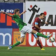Werder Bremen's Nils Petersen (L) during their Tuttur.com Cup matchday 2 soccer match Trabzonspor between  Werder Bremen at Mardan stadium in AntalyaTurkey on 07 Monday January, 2013. Photo by Aykut AKICI/TURKPIX