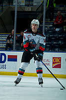 KELOWNA, BC - FEBRUARY 7: Elias Carmichael #14 of the Kelowna Rockets warms up on the ice against the Portland Winterhawks at Prospera Place on February 7, 2020 in Kelowna, Canada. (Photo by Marissa Baecker/Shoot the Breeze)