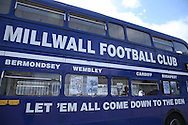 a Millwall bus is seen outside The Den Stadium. EFL Skybet football league one match, Millwall v Bradford city at The Den in London on Saturday 3rd September 2016.<br /> pic by John Patrick Fletcher, Andrew Orchard sports photography.