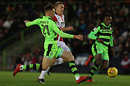 Mark Roberts and Danny Wright during the EFL Sky Bet League 2 match between Forest Green Rovers and Cheltenham Town at the New Lawn, Forest Green, United Kingdom on 25 November 2017. Photo by Antony Thompson.