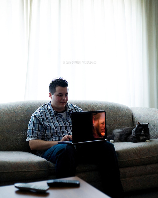 A portrait of television blogger Greg Godden at his home in Vancouver, BC.