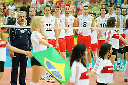 13.09.2014, Spodek, Katowice, POL, FIVB WM, Brasilien vs Kanada, 2. Runde, Gruppe F, im Bild Kanada // during the FIVB Volleyball Men's World Championships 2nd Round Pool F Match beween Brazil and Canada at the Spodek in Katowice, Poland on 2014/09/13. EXPA Pictures © 2014, PhotoCredit: EXPA/ Newspix/ Karol Baik<br /> <br /> *****ATTENTION - for AUT, SLO, CRO, SRB, BIH, MAZ, TUR, SUI, SWE only*****